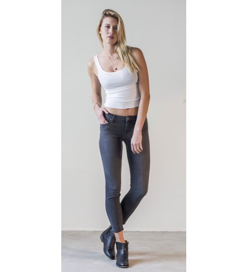 Camden Crop Skinny (Raw Edge) : Charcoal